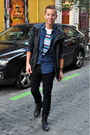 Black-primark-boots-navy-topman-jacket-blue-denim-the-kooples-shirt
