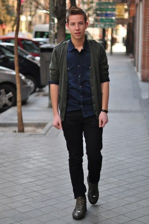 asos cardigan - denim The Kooples shirt - Zara pants - YSL bracelet