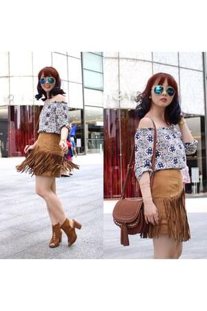 brown Mango bag - brown fringe skirt skirt - sky blue H&M top