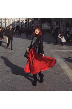 black moto jacket jacket - brown bag Louis Vuitton bag