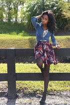 blue top - neutral top - amethyst skirt - black tights - black shoes