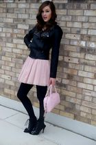 black jacket - pink Juicy Couture dress - black shoes - pink Chanel accessories
