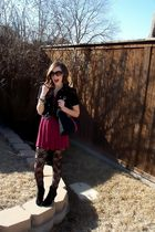 black jacket - red max & cleo by BCBG dress - black stockings - black Gucci acce