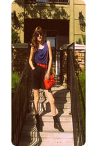 black escada shorts - blue top - black shoes - red belt - red Chanel accessories