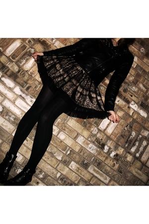 black Forever 21 jacket - skirt - stockings - shoes