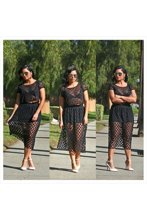black Forever 21 skirt - black Forever New sunglasses