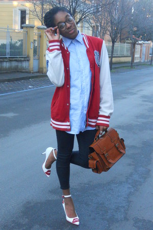 H&amp;M jacket - sky blue Sea&amp;Sky Sportwear shirt - burnt orange pieces bag