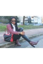black Primark sunglasses - crimson Pennyblack boots - maroon Zara blazer