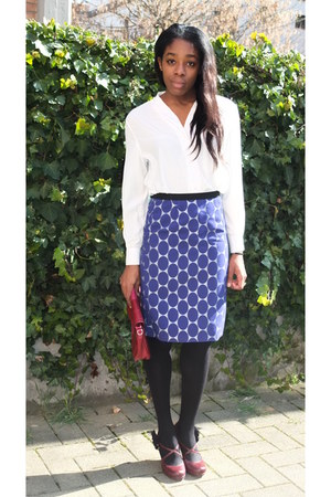 blue Marni skirt - hot pink Guess purse - brick red Madden Girl pumps