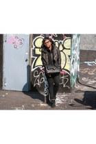 black rag & bone jeans - black Mackage jacket - black Chanel bag