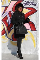 black Burberry coat - black woolrich hat - black Givenchy purse
