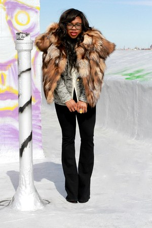 heather gray smythe blazer - tawny fur Miu Miu coat - black uno flare jeans