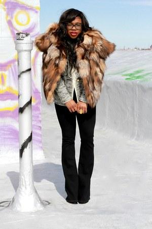 heather gray smythe blazer - tawny fur Miu Miu coat - black uno flare jeans