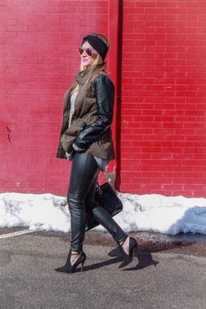 H&M jacket - H&M sweater - Chanel bag - color my bubble sunglasses - H&M pants