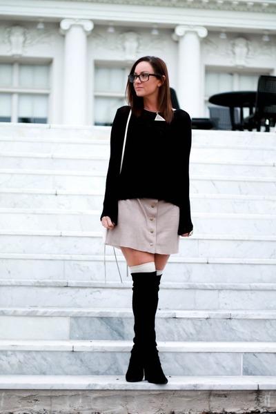 H&M sweater - stuart weitzman boots - Rebecca Minkoff bag - Forever 21 socks