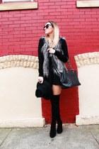 faux feathers H&M vest - stuart weitzman boots - Gap dress - Chanel bag