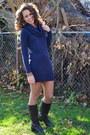 Dark-brown-leather-boots-ralph-lauren-boots-navy-sweater-dress-h-m-dress