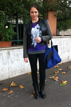 black French Connection jacket - black Zara boots - blue H&M bag