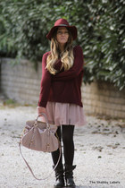 brick red Zara jumper - black Zara boots - light pink H&M dress