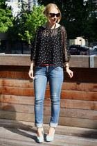 black polkadots H&M blouse - sky blue Zara jeans