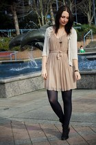 neutral pleats H&M dress - black Topshop boots - cream Pins & Needles cardigan