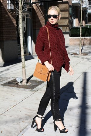black Zara jeans - brick red Zara sweater - camel asos bag - black Zara heels