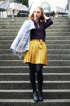 gold Gap skirt - light blue Allegri jacket - deep purple vintage blouse