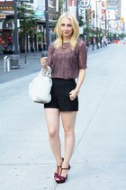 white Alexander Wang bag - black Zara shorts - magenta Zara sandals