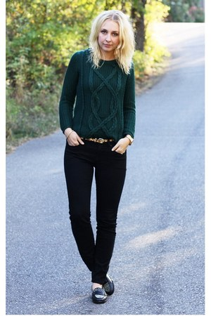 green Zara sweater - black BDG jeans - black studs Zara loafers