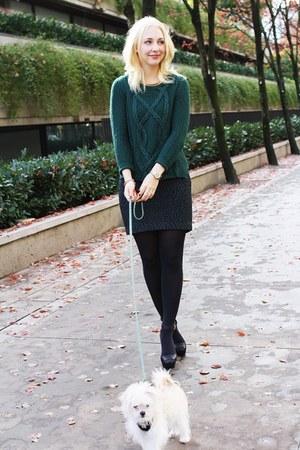 dark green Zara sweater - forest green H&M skirt - black Zara heels