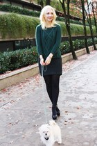 dark green Zara sweater - forest green H&M skirt - black Zara heels