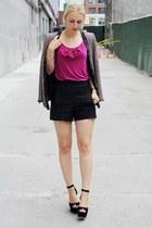 magenta multi-color Zara jacket - black Zara shorts - pink bow Vero Moda top