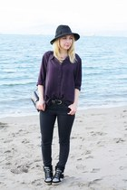 black Zara hat - gray COS jeans - purple vintage blouse