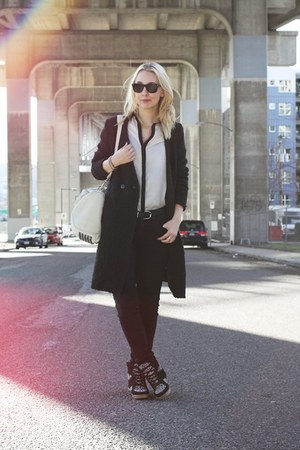 black H&M coat - black BDG jeans - off white Alexander Wang bag