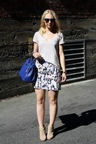 blue from Italy bag - neutral Zara shirt - black Zara heels