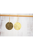 Minimalist Gold Toned Disk Drop Earrings