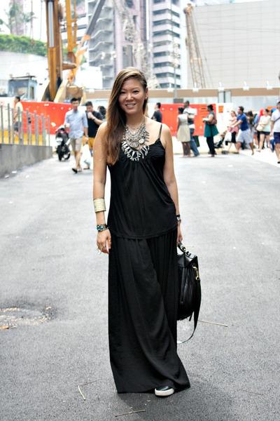 Zara necklace - CC Skye bag - H&M top - sam edelman sneakers - Zara pants