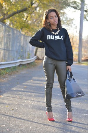 black NU BLK sweatshirt - green H&ampM pants - red Zara heels
