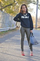 red Zara heels - green H&ampM pants - black NU BLK sweatshirt