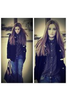 black H&M coat - charcoal gray leopard H&M shirt