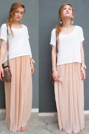eggshell maxi skirt pull&bear skirt - white H&M top