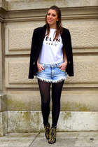 black studded Zara jacket - white inspired Celine shirt