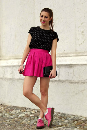 hot pink Bershka skirt - black collar H&amp;M shirt - silver tiffany&amp;co earrings