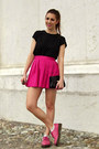 Black-collar-h-m-shirt-silver-tiffany-co-earrings-hot-pink-bershka-skirt
