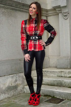 red inspired Chanel earrings - black Zara leggings - brick red plaid Zara shirt