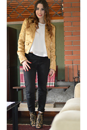 gold Pinko jacket - white H&M blouse - black Zara pants - gold Zara heels