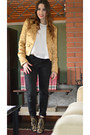 Gold-pinko-jacket-black-zara-pants-white-h-m-blouse-gold-zara-heels