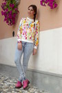 Light-blue-zara-jeans-hot-pink-floral-choiescom-sweater