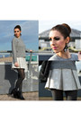 Silver-pinko-skirt-black-zign-boots-heather-gray-vintage-sweater