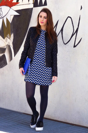 blue Zara dress - black baroque quilted Zara jacket - blue Primark bag